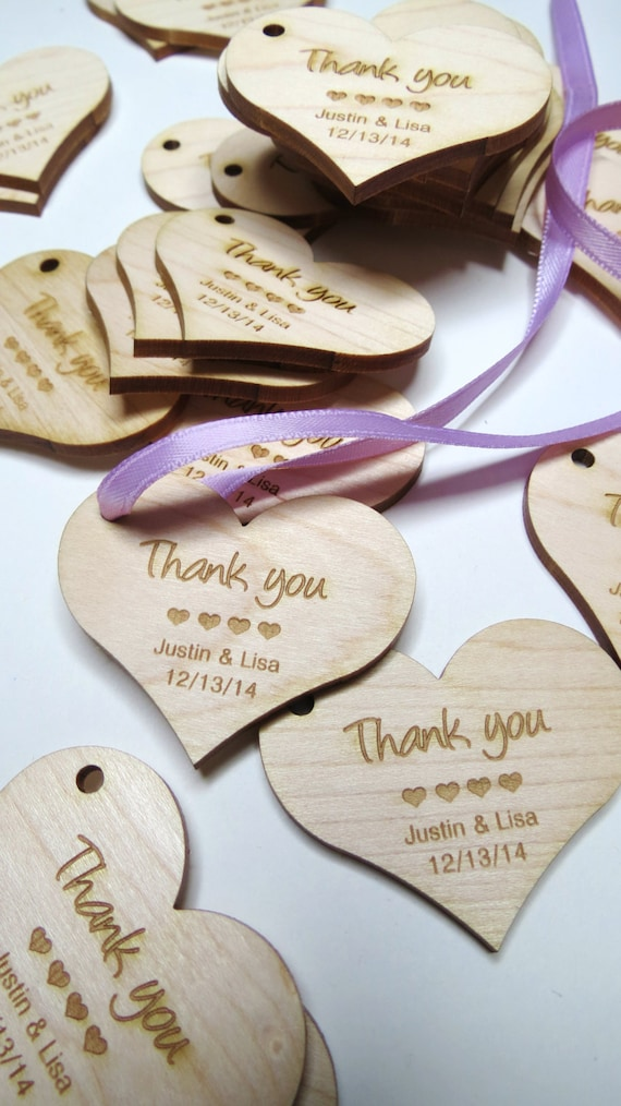 2 x 2 Heart Tags - Custom Wedding Tags - Wood Wedding Tags