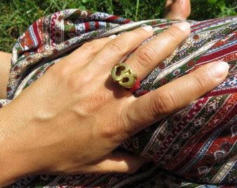 Macrame ring with brass Om