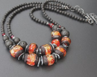 Lampwork and lava stone necklace / 'Volcano' / Black and red