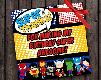 Superhero favor tags, 3 inch, non-customized, printable digital, instant download after purchase