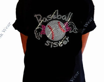 """Girls Rhinestone/Rhinestuds T-Shirt """" Baseball Sister """" with Pigtails  Size XS to XL"""