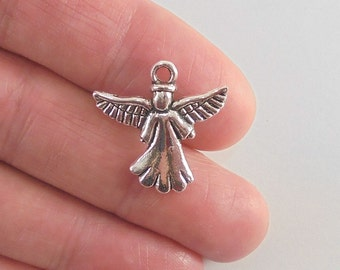 8 Angel charms, 21x20mm, antique silver finish