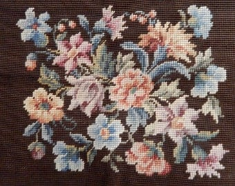 Floral Wool Tapestry Needlepoint Chair Cover - Floral Bouquet - Antique Needlework - Floral Wool Needlepoint - Cover a Pillow or Frame!