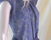 shirt bluette flowers, flowery top, shirt woman