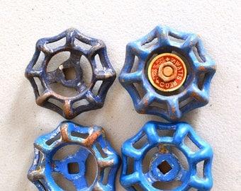 "Set of 4 Small Faucet Handle 2"" Vintage Spigot Handle Valve Handle Water Knob Lot Octagonal 8 Side Faucet Blue Paint Industrial Salvage Lot"
