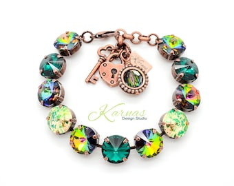 GREEN VORTEX 12mm Crystal Rivoli Bracelet Made With Swarovski Elements *Pick Your Color *Karnas Design Studio *Free Shipping*
