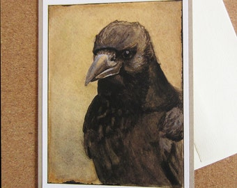 Greeting Card - Portrait of a Crow - Kraft, recycled, fine art print Crow Card