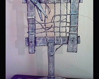 Frame of Mind Threads of Sanity Small Assemblage Art Sculpture by Tree Pruitt