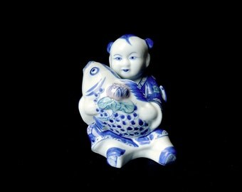 Chinese Blue Porcelain Boy Holding a Koi Fish and Lotus Flower /  6.9 inch