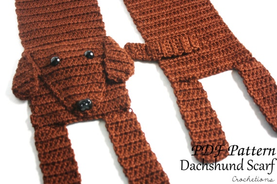 Knit Dog Scarf Pattern : Crochet PATTERN Dachshund Scarf / Dog Breed Scarf Puppy