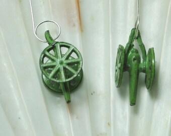 Novelty earrings; green cannon earrings; weapon earrings; kitschy green earrings; green earrings; miniature cannon earrings