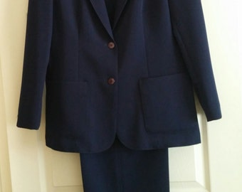"Vintage 1980's Women's ""PANTHER"" Navy Blue Polyester Two Piece Pant Suit"