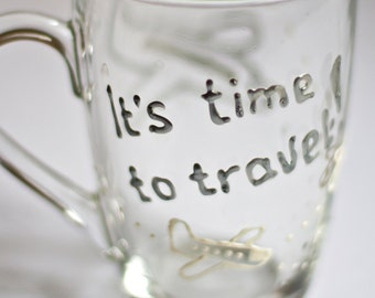 Grammar stained glass mug, It's time to travel! mug with white and silver planes. Funny coffee mug, cozy tea cup. Workaholic co-worker gift