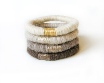 Misty Yarn Bracelet  Bangle, Wool Bracelet, Boho chic bracelet, Fiber Jewelry in brown, light taupe, taupe, cream color