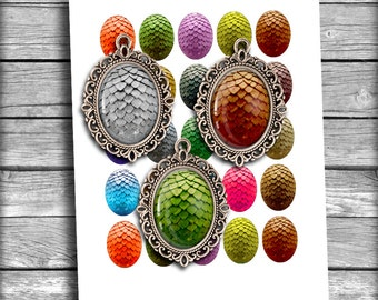 Dragon Eggs Oval Images 30x40mm 22x30mm for Jewelry Making - Digital Collage Sheet - Instant Download