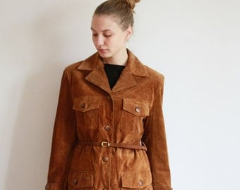 Vintage 80's 90's Camel Caramel Brown Suede Genuine Leather Jacket - Medium