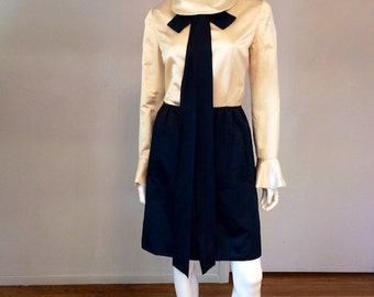 Vintage 1960's Bill Blass Satin Mini Dress With Bow Collar