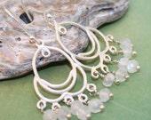Taxco Silver Moonstone Chandelier Earrings, Taxco Sterling Silver Earrings, Moonstone Chandelier Earrings, Moonstone Earrings, Hippie