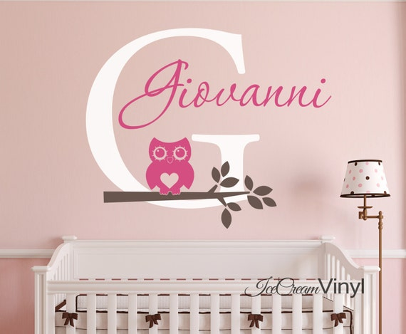 Owl Name Vinyl Wall Decal with Initial for Nursery Boys or Girls Room Tree for Playroom Vinyl Monogram Lettering