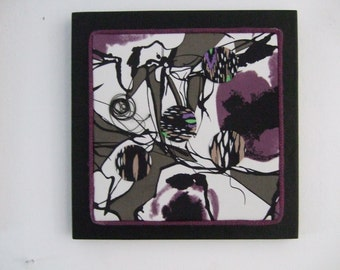 Wine Scribbles original fabric collage wall art