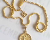 Necklace - Saint Mary Magdalene - 18K Gold Vermeil - 20mm medal - 16 inches