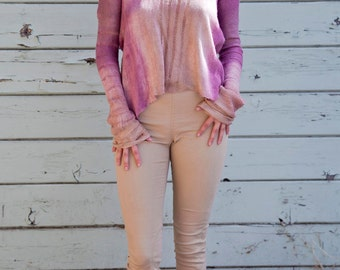 Silk Long Sleeve Hand Dyed Ombre Romantic Dawn Drop-Stitch Shirt, MEDIUM (M)