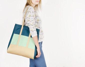 Vegan tote Boho tote bag Teal shoulder bag Shopper bag Vegan bag Faux leather tote Large bag Vegan leather tote Mint handbag Shopping bag