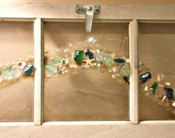 Shabby Chic Coastal Decor - Sea Shell Wall Art Window