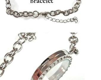 Floating Locket Bracelets Silver, Gold, Rose Gold 30mm Adjustable Chain