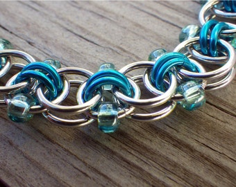 Blue, sea foam and silver beaded chain maille bracelet, chainmaille jewelry, beaded chainmaille bracelet