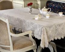 PineEye CROCHET TABLECLOTH - HANDMADE - 100% Cotton - Crochet Table Throw, Table Runner for Home Decor, Wedding, Birthdays, Bridal & Gifts.