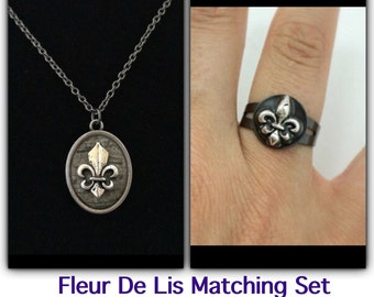 Fleur de lis jewelry / fleur de lis necklace and ring / new orleans NOLA jewelry / black ring / saints jewelry / jewelry set