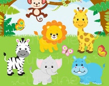 Jungle Animal Clipart , Baby Animals Clipart, Safari Clipart , Zoo Clipart, animal clipart