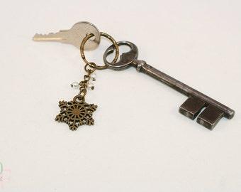 Keychain, keyring Winter Snowflake for Christmas