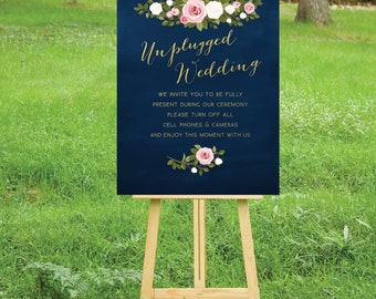 The ASHLEY . Unplugged Wedding Ceremony Sign . PRINT or PDF, Shipping Included. Gold Navy Chalkboard Calligraphy. White Blush Pink Roses