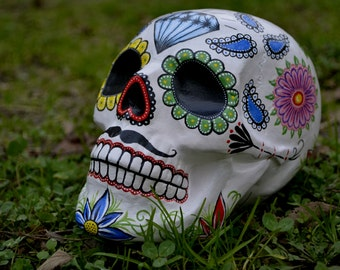 Sugar Skull Dia De Los Muertos Day of the Dead Handmade Ceramic Mexican Skull with Moustache MADE TO ORDER