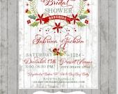 Christmas Holiday Bridal Shower Invitation - Printed Holiday Bridal Shower Invitation by Dancing Frog Invitations