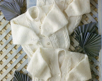 Baby / childs cardigan in 3 styles - premature sizes - 12 to 24 inch chest - 4 ply - knitting pattern - pdf instant download