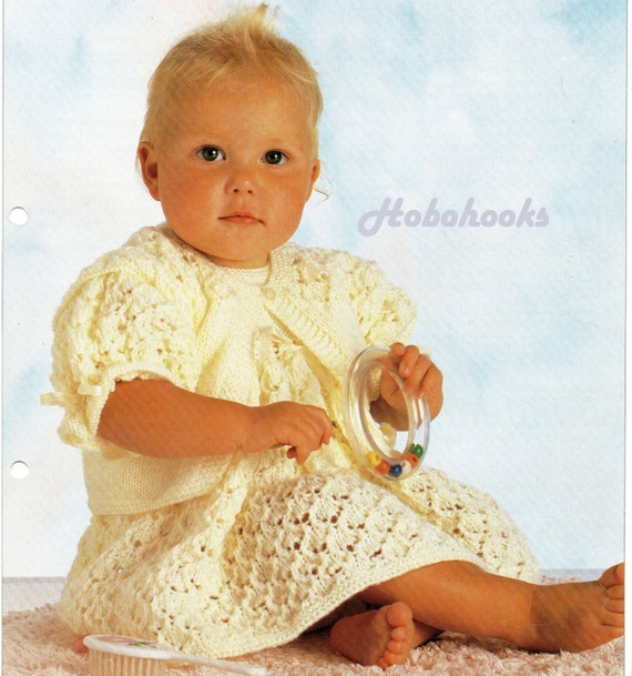 Baby Knitting Patterns Baby Girls Lacy Dress & Waistcoat Baby