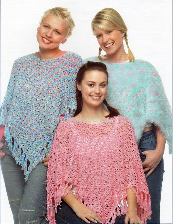 Knitting Pattern For Dk Poncho : womens DK ponchos knitting pattern pdf ladies poncho pattern