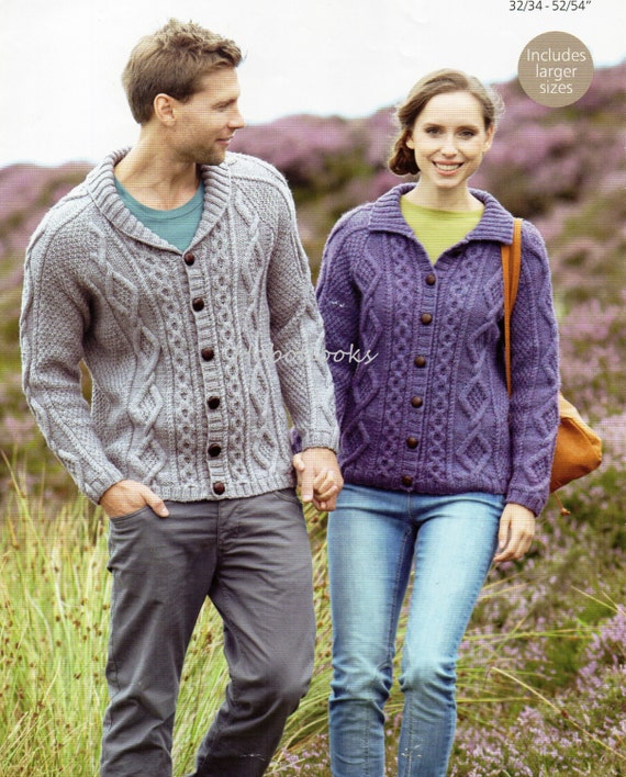 Knitting Patterns Aran Cardigan Mens : Womens Knitting Pattern Mens Knitting Pattern Aran Cardigan
