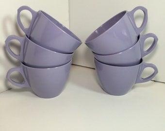 Lavender Melmac Cups Vintage Royalon Melamine Lilac Cups Set of 6