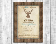 Rustic Deer Baby Shower Invitation, Burlap Deer Wood Background, Printable Digital File_70