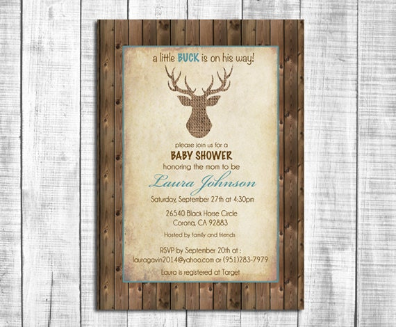 rustic deer baby shower invitation burlap deer wood background printable digital file70