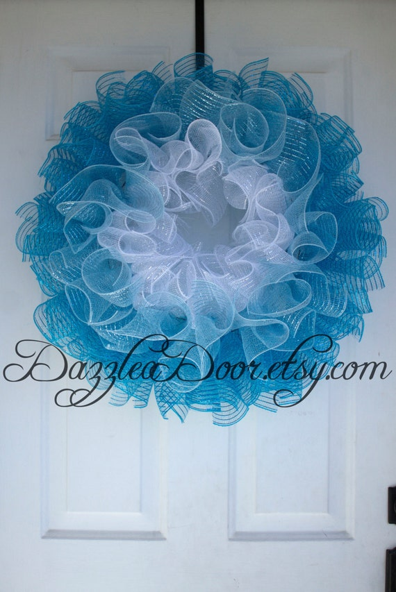 Blue Ombre Curly Q Deco Mesh Wreath White Light Blue And