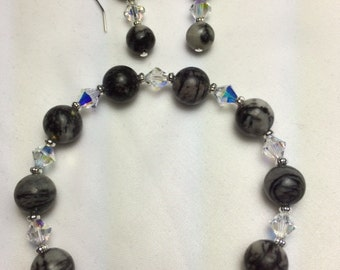 Black Silk Stone (natural) with clear Swarovski Crystals Stretch Bracelet and Earrings