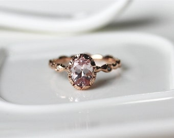 Vintage Floral Ring Morganite Engagement Ring 14K Rose Gold Morganite Ring Unique Wedding Ring Promise Ring Anniversary Ring Brildal Ring