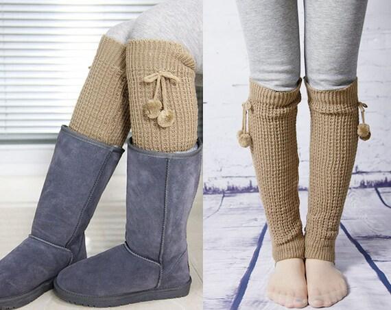 Knitting Pattern For Leg Socks : Womens Knit Pattern Leg Warmers With Pom Pom Tie Camel by ...