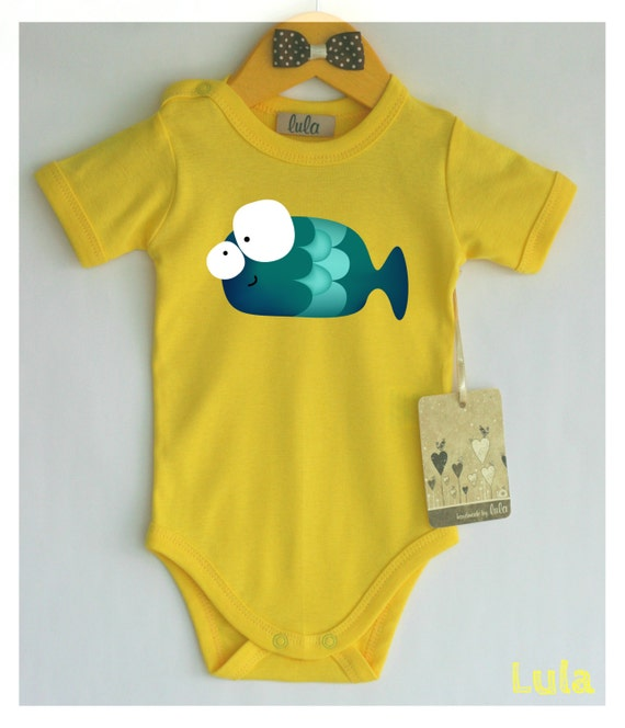 Cute Baby Clothes Fish Print Funny Bright Color