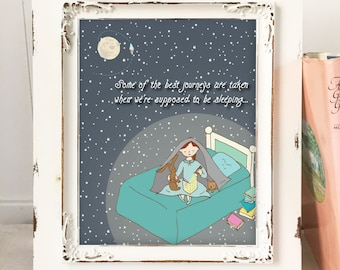 Nursery Art Girls, Night Reading, Girls Nursery Art, Imaginative Adventures